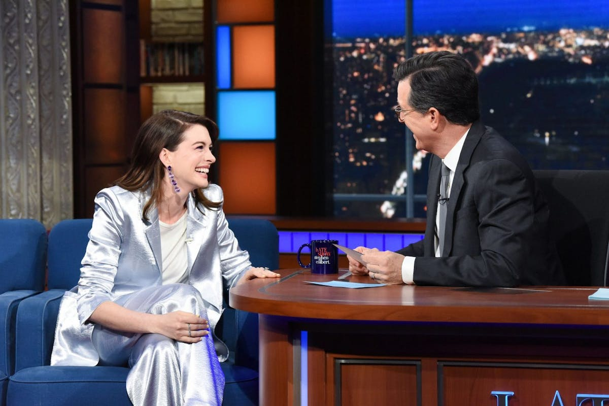 Anne Hathaway on the Late Show with Stephen Colbert