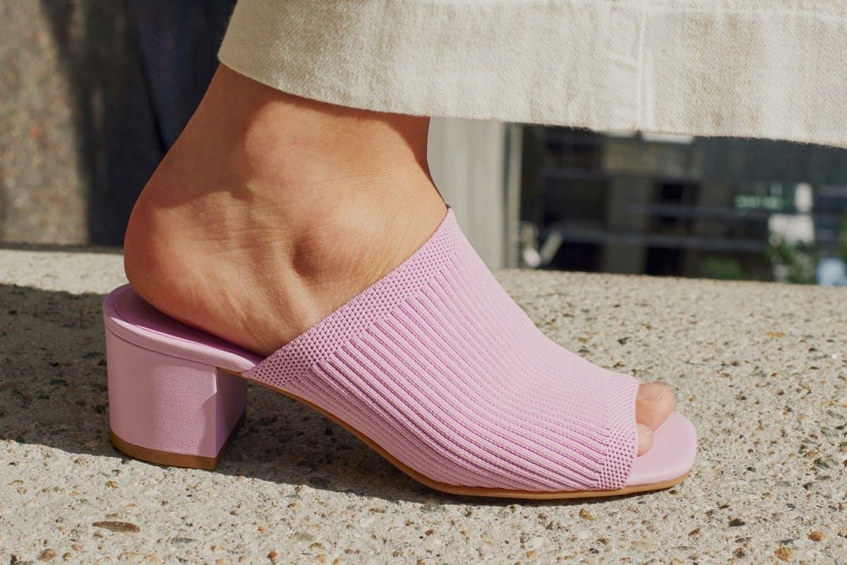Sustainable footwear: Pink Everlane Mules