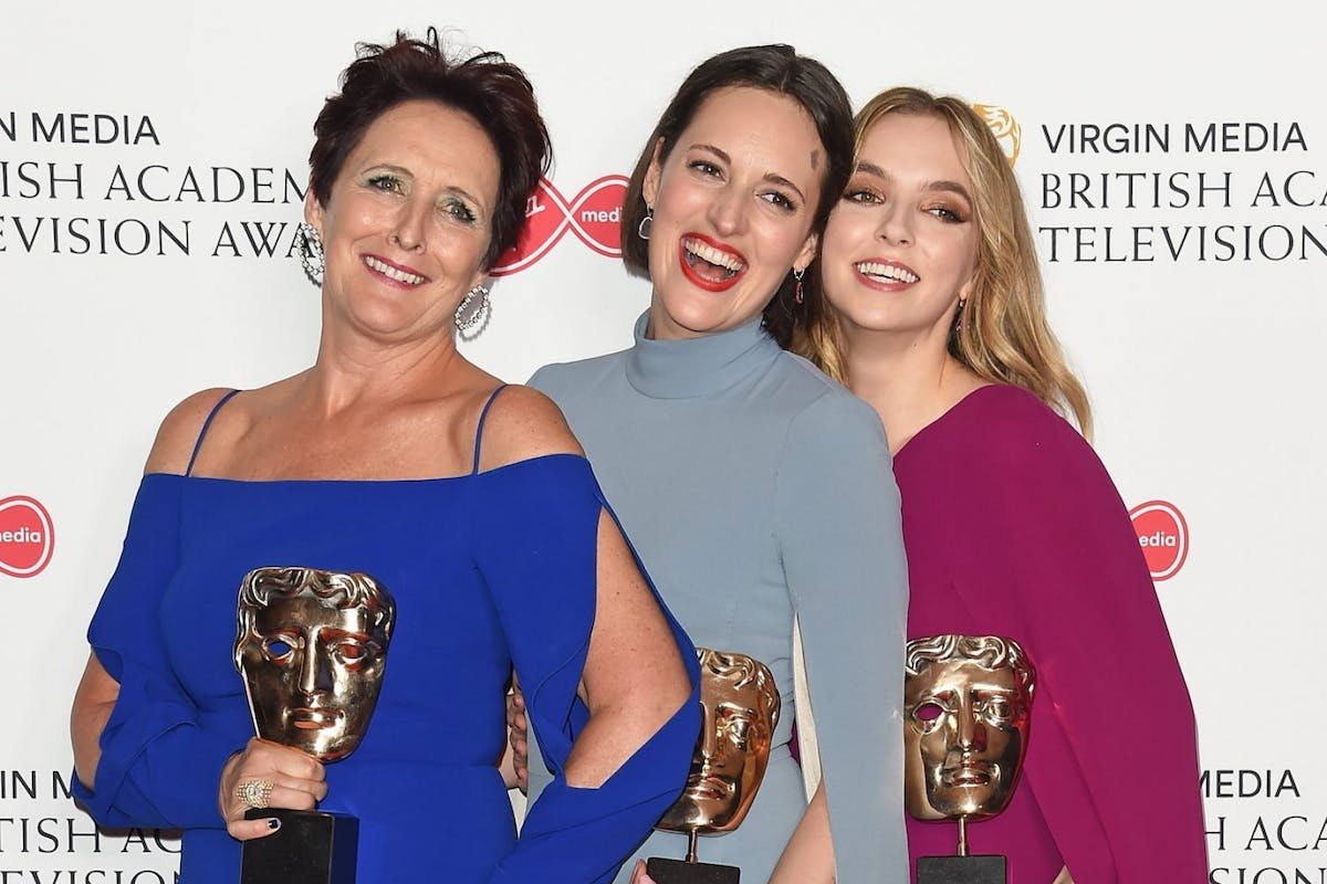 Killing Eve Phoebe Waller-Bridge at Bafta 2019 with Fiona Shaw and Jodi Comer