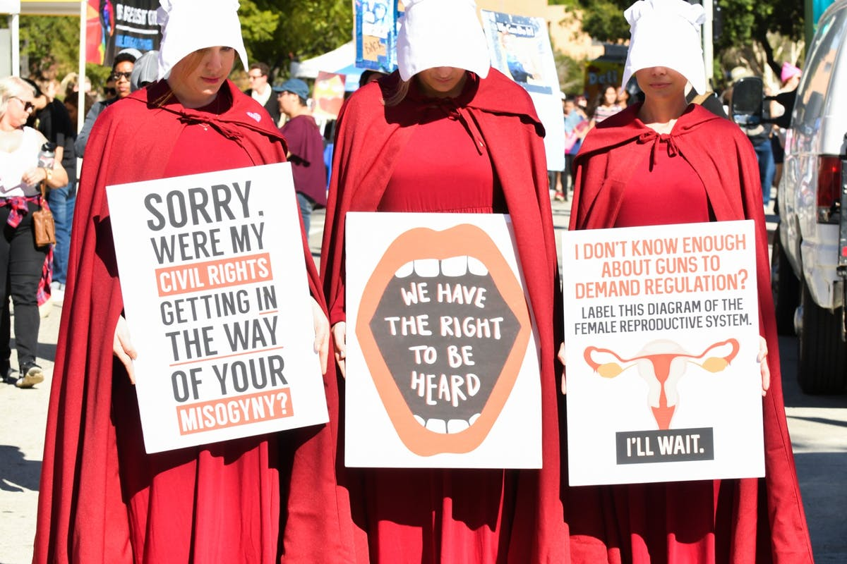 Handmaids Tale protest against abortion laws