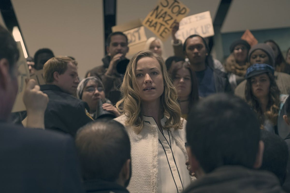 "THE HANDMAID'S TALE -- ""First Blood"" -- Episode 206 -- Offred finds unexpected allies and obstacles in her search for a way to protect Hannah. The Commander prepares for the dedication of a new Red Center. Nick struggles with his new position. Serena Joy (Yvonne Strahovski), shown. (Photo by: George Kraychyk/Hulu)"