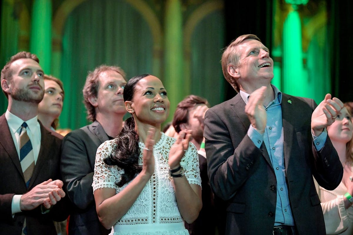 Sweden's Green party members watch EU election results come in