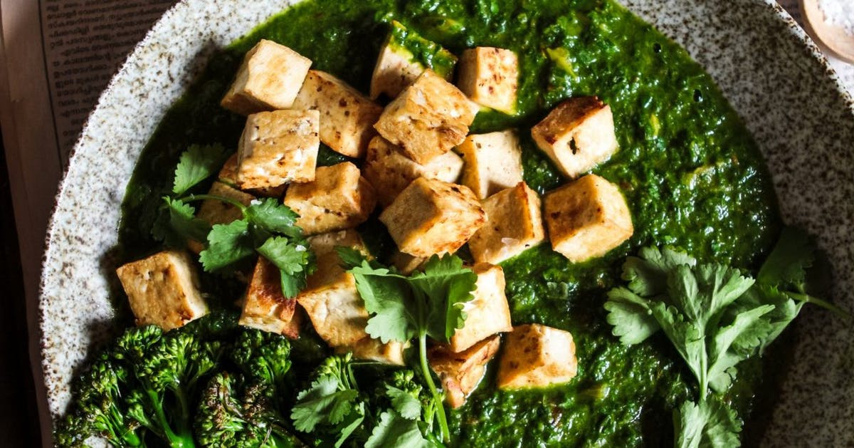 Vegan coconut tofu saag with charred broccoli recipe