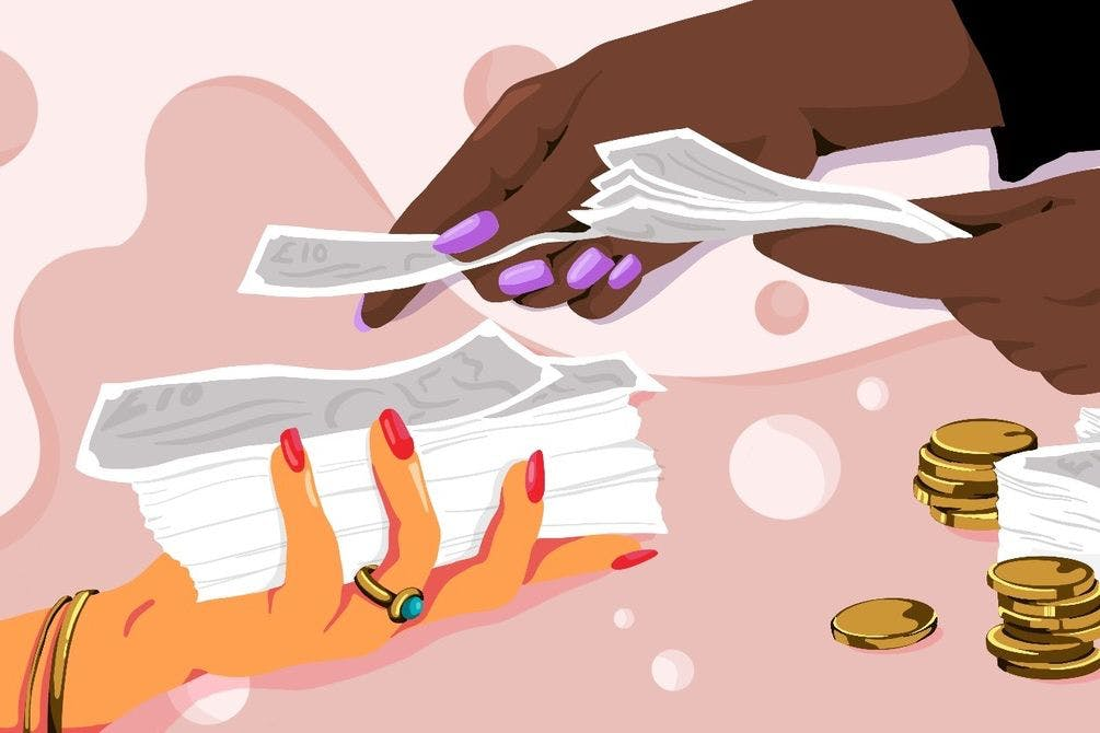 Illustration of two women handling money