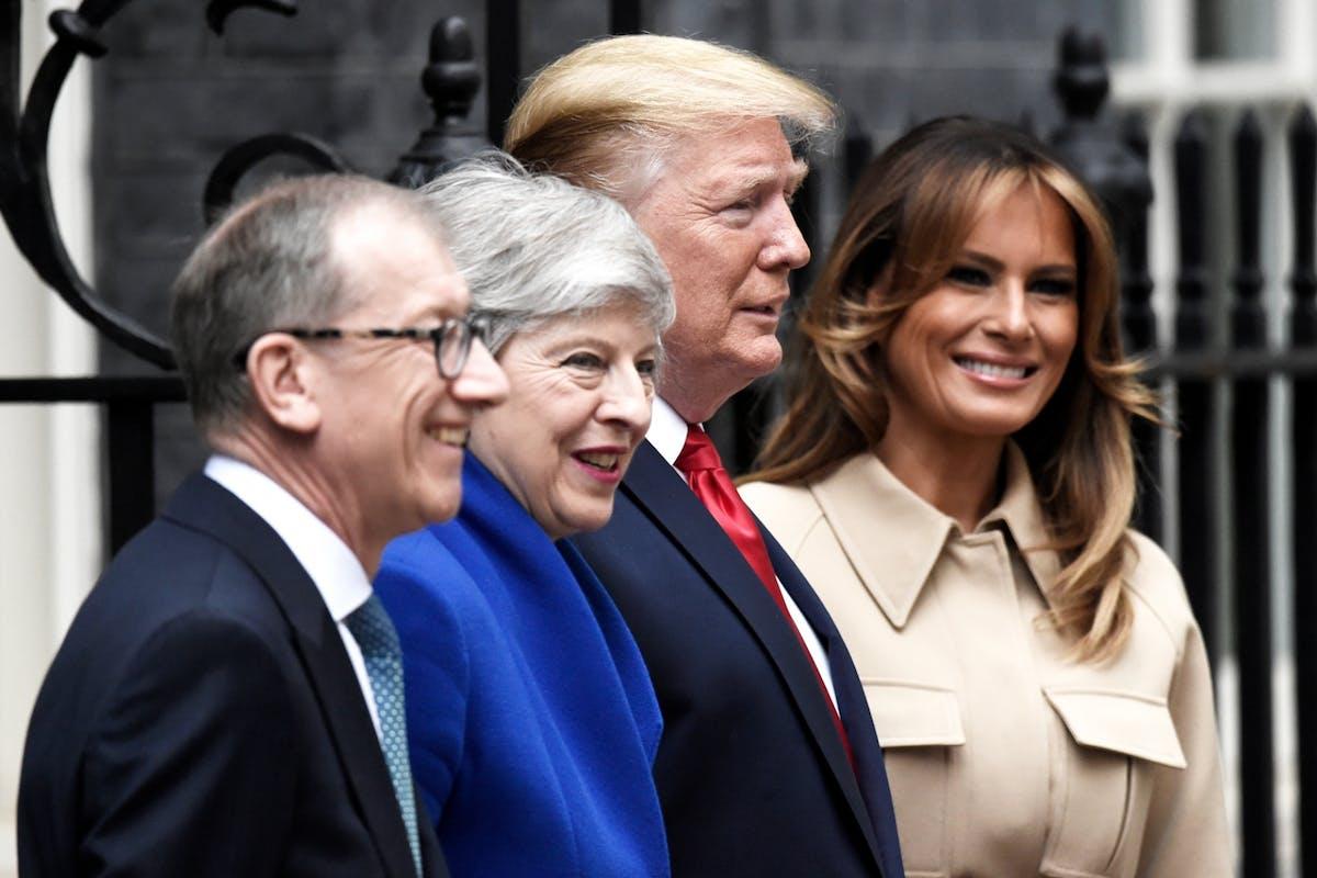 Theresa May, Donald Trump and Melania Trump