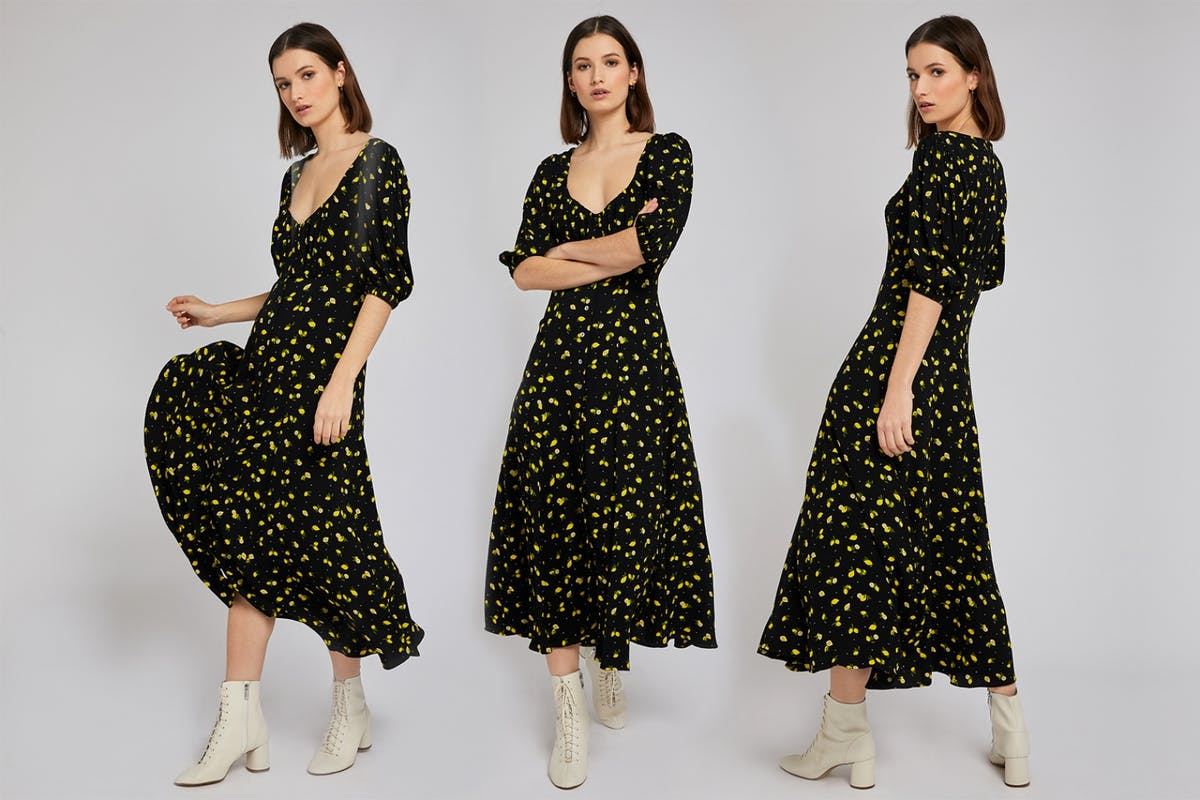 Ghost Alice dress black crepe maxi midi dress with lemon prints contemporary designer investment wedding