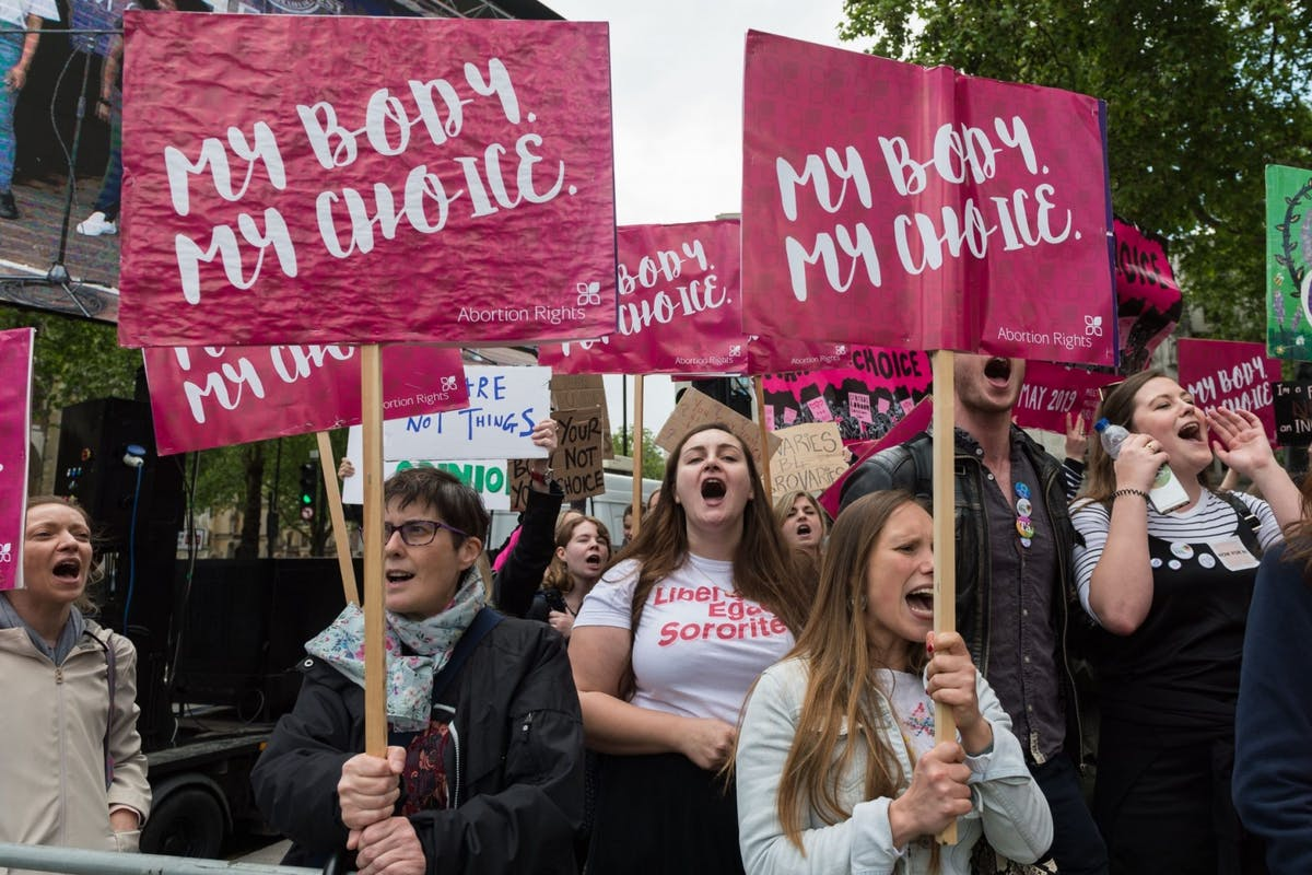 Women at abortion rights protest in London on the 11 May 2019