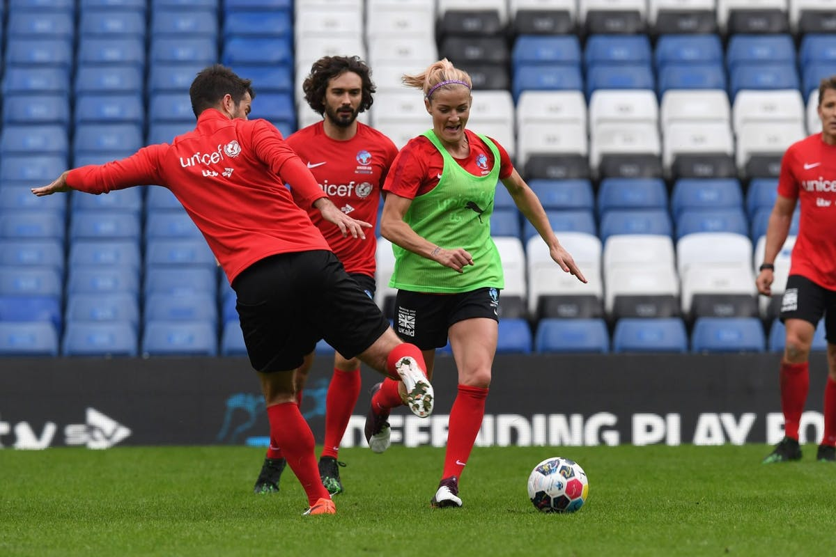 Katie Chapman in action during training for Soccer Aid 2019