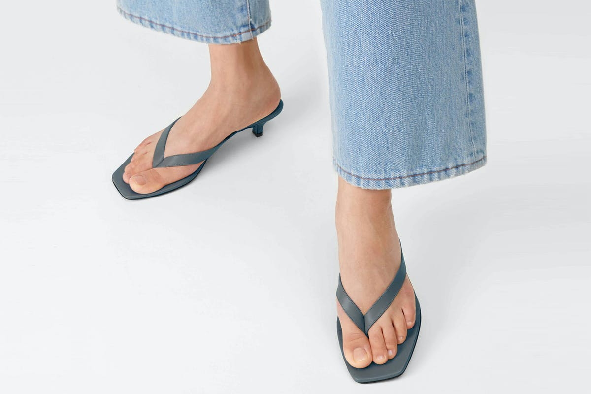 Toteme thong sandals grey blue leather