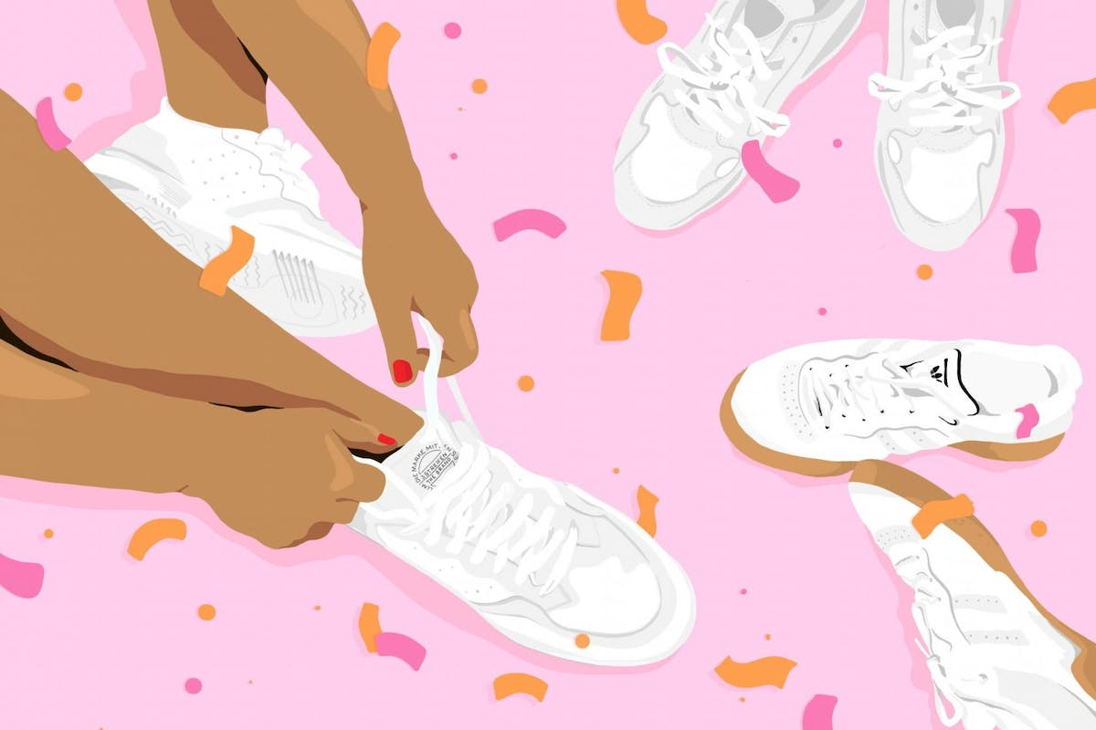illustration of girl tying trainers on pink background