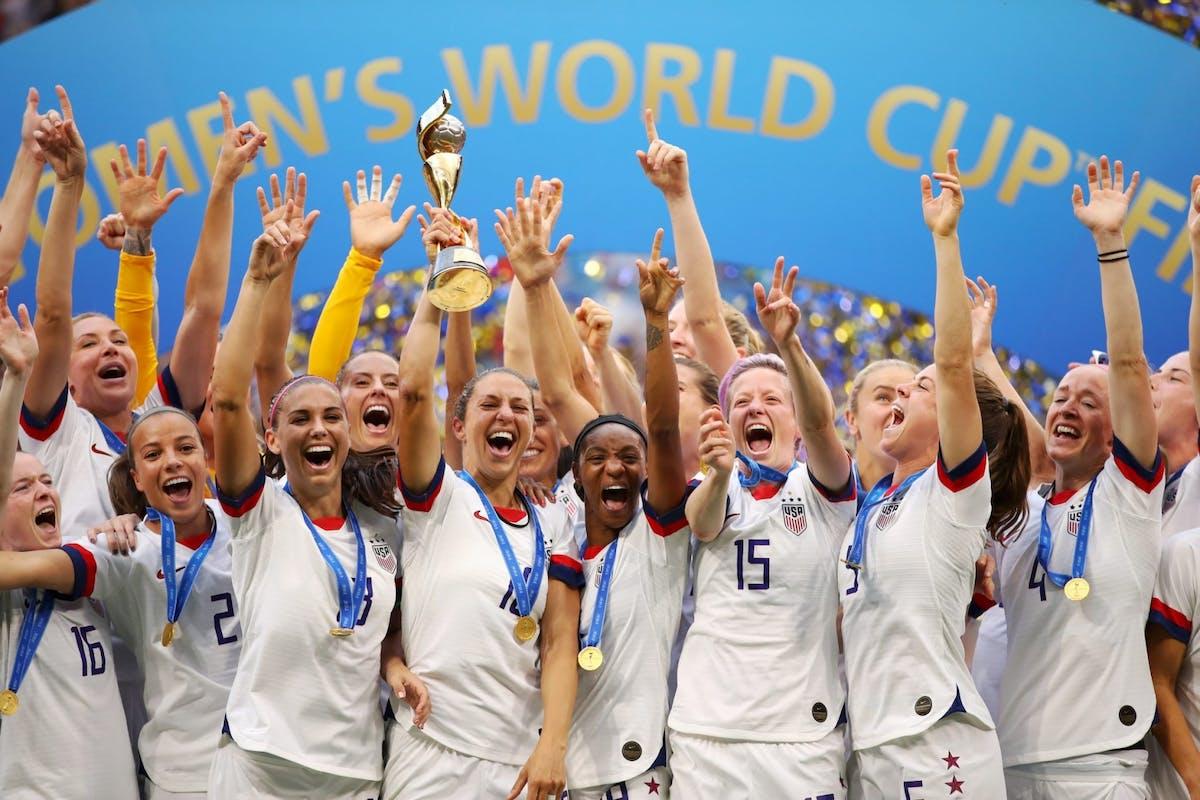 US team celebrate winning Women's World Cup 2019.
