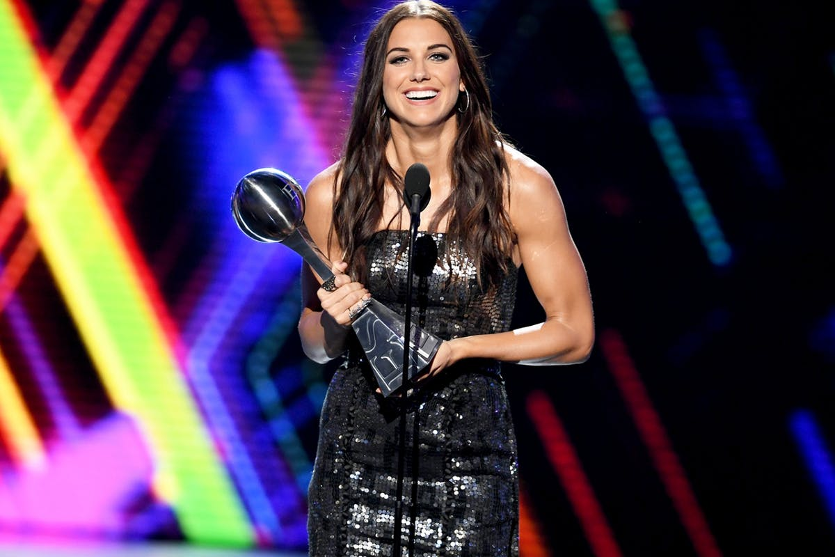 Alex Morgan accepts her award for Best Female Athlete at the ESPYS