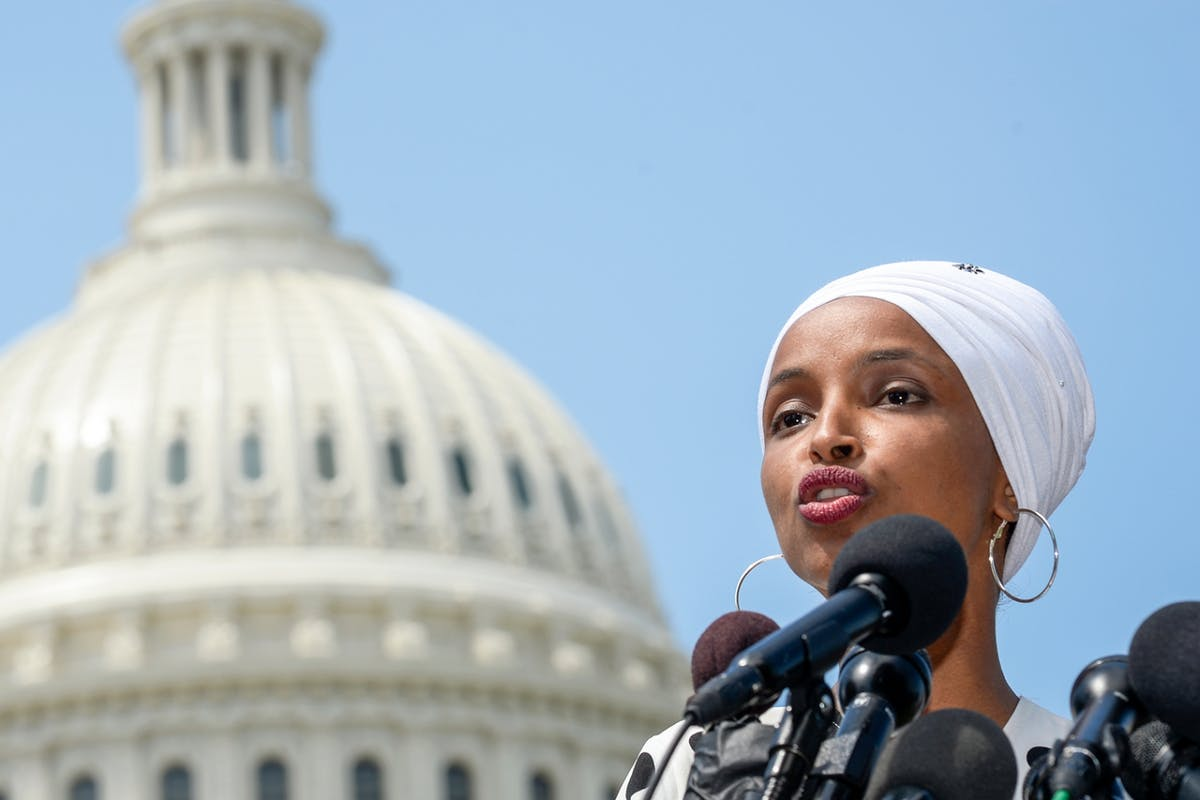 US congresswoman Ilhan Omar speaks at the Capitol in Washington