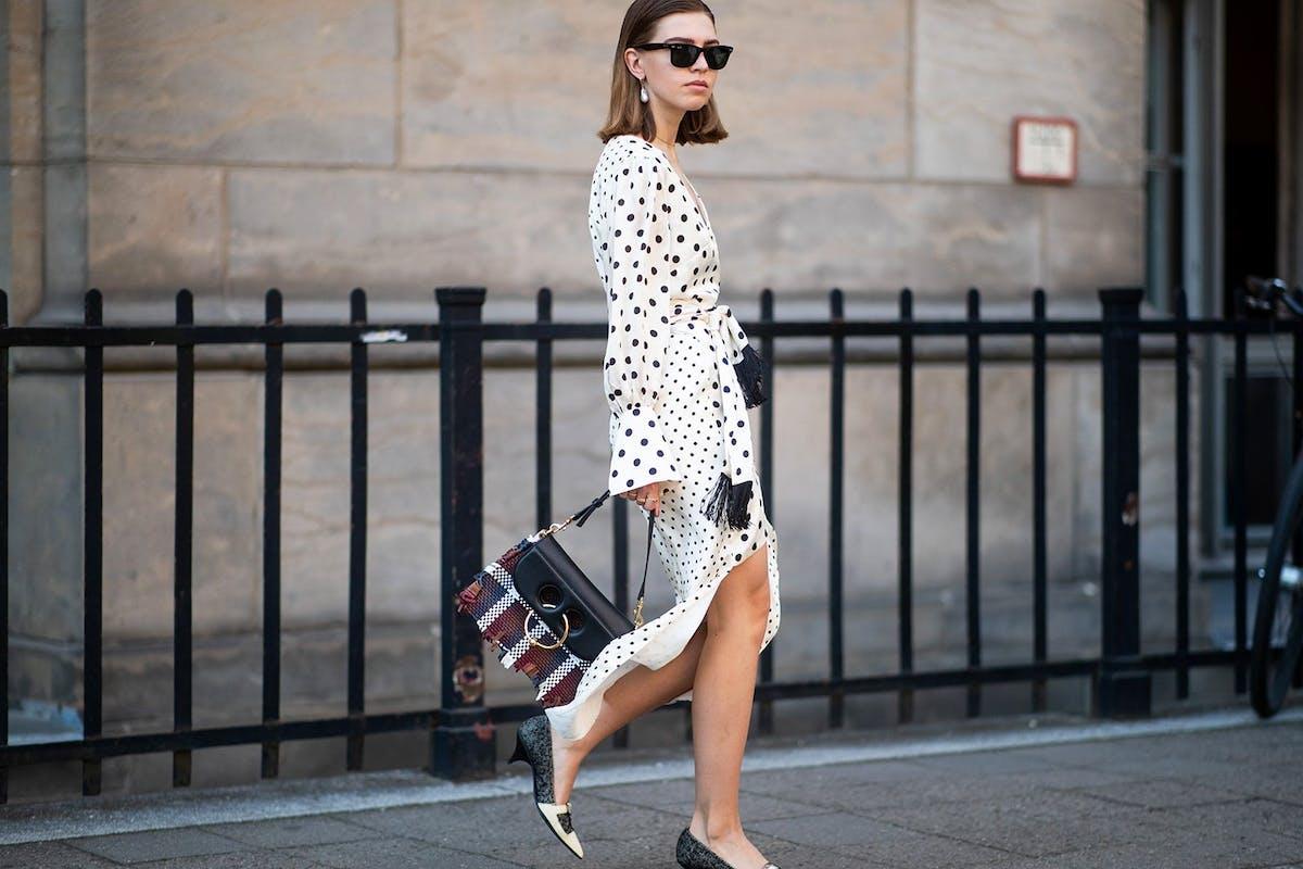 Street style spotty dress