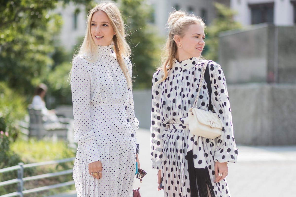 Image of polka dot dress street style