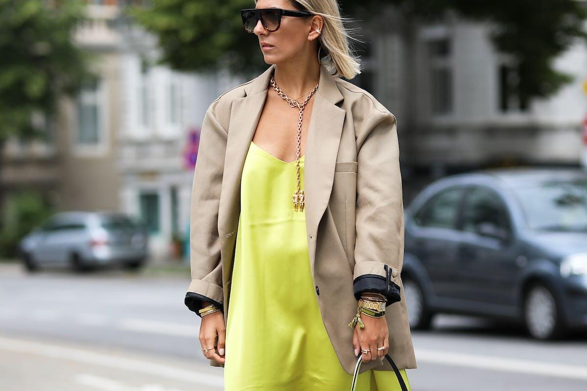 Image of slip dress street style