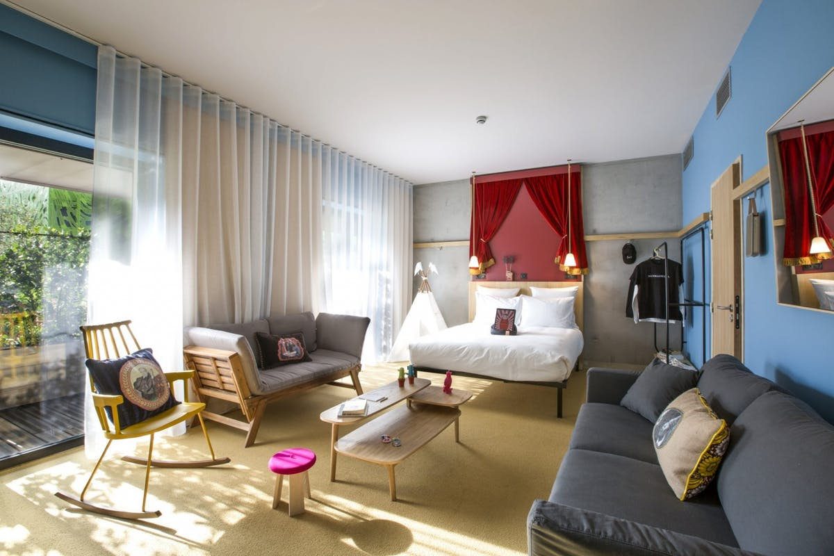 Modern style bedroom at Mob Hotel, Lyon