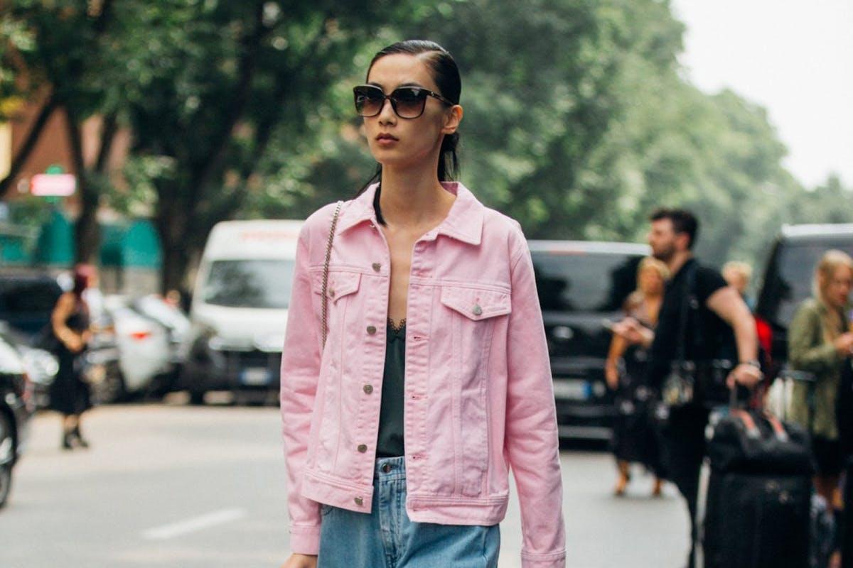 Pink jacket street style