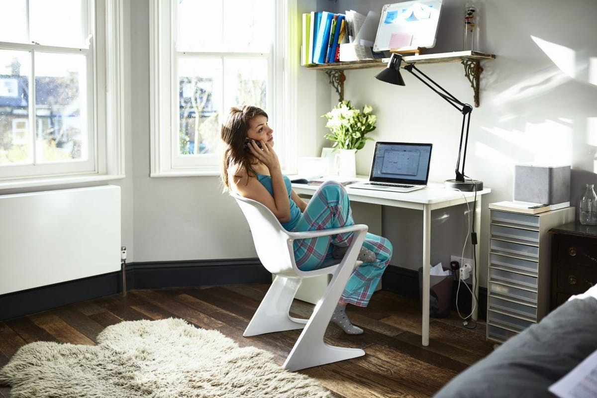 woman making money working from home