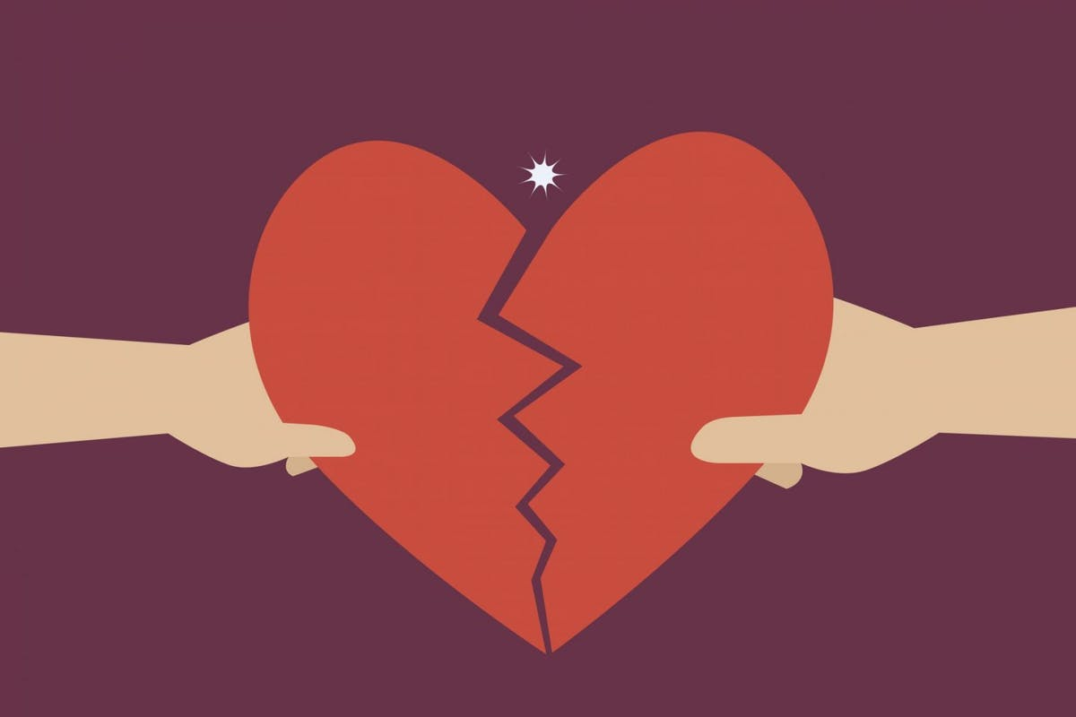 Hand of a man and woman tearing apart heart symbol - stock vector