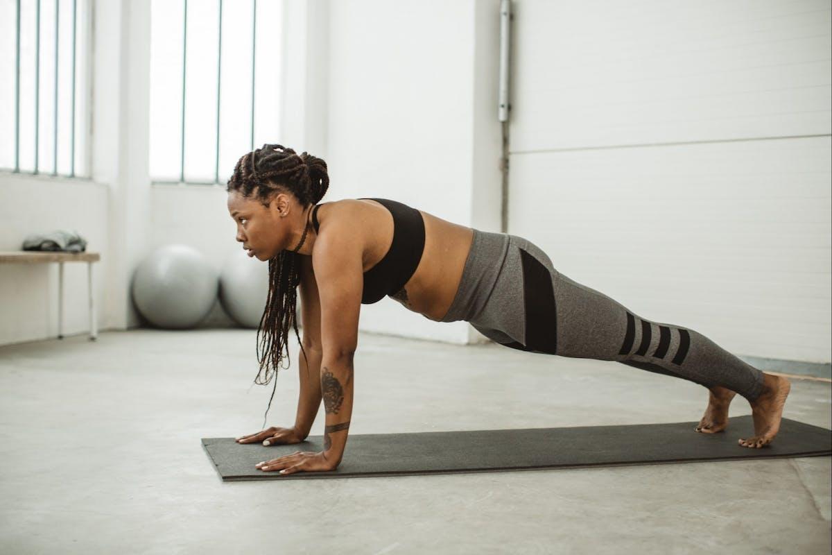 Woman doing yoga plank