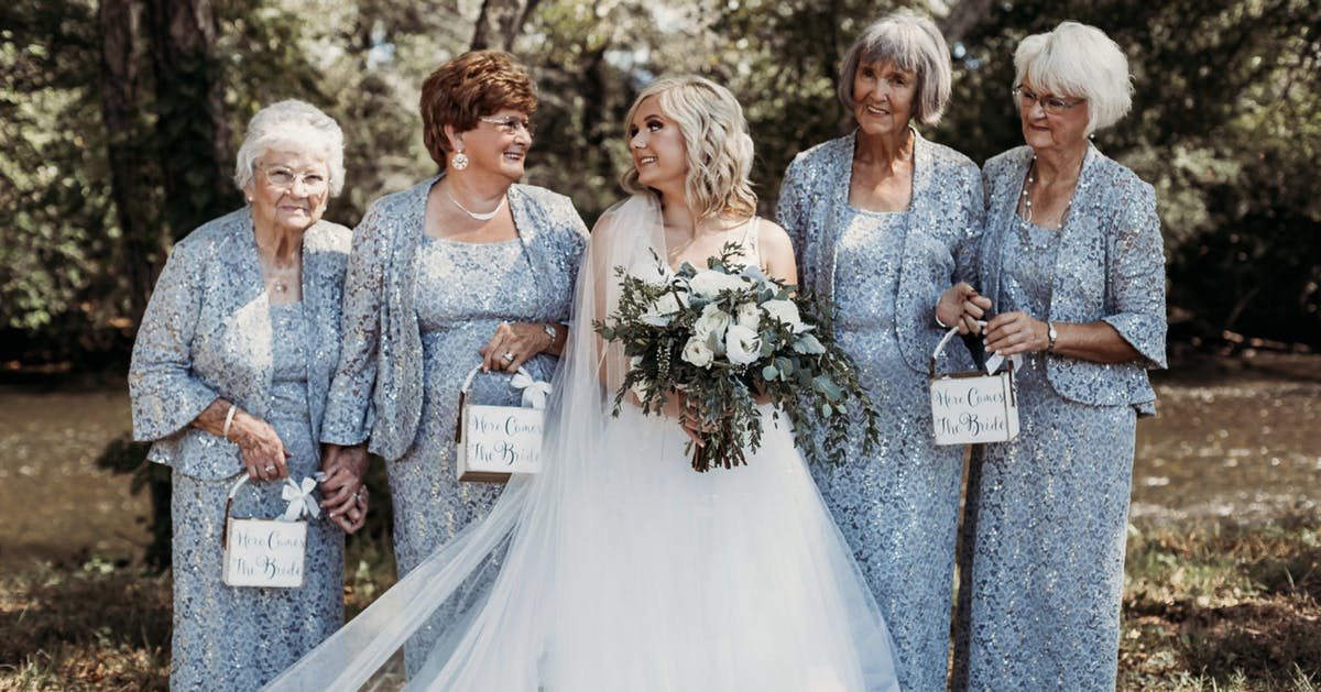 Bride enlists her four grandmothers to be bridesmaids, and the pictures are beautiful