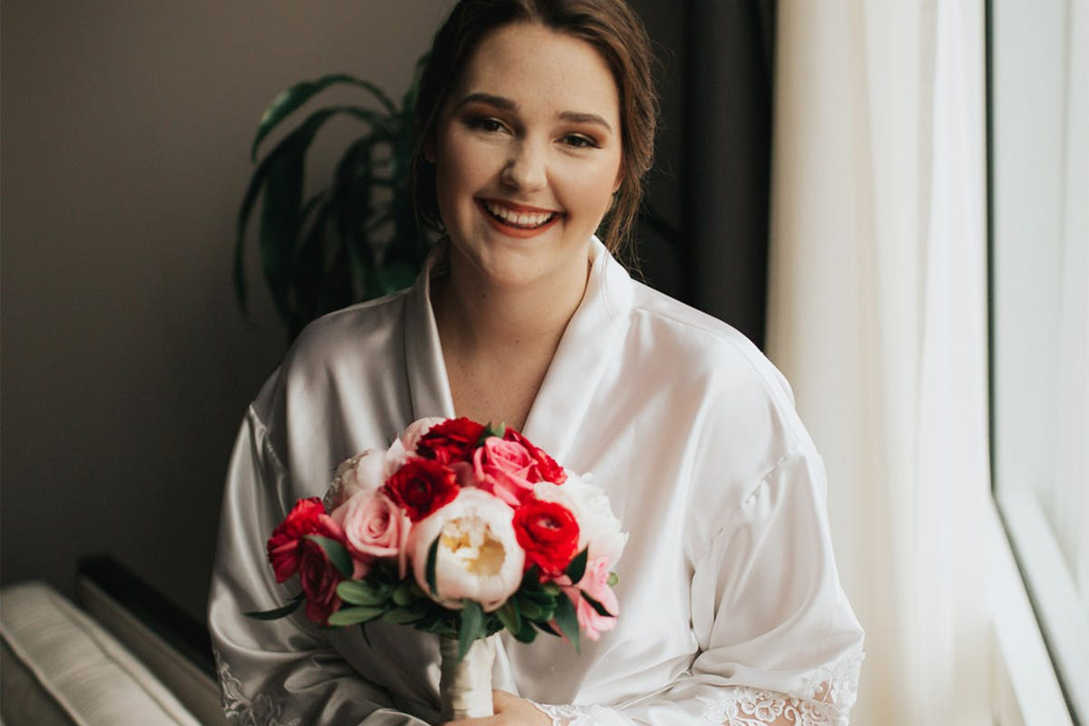 Bride surprised with a dressing gown made from her late mum's wedding dress and it's so beautiful