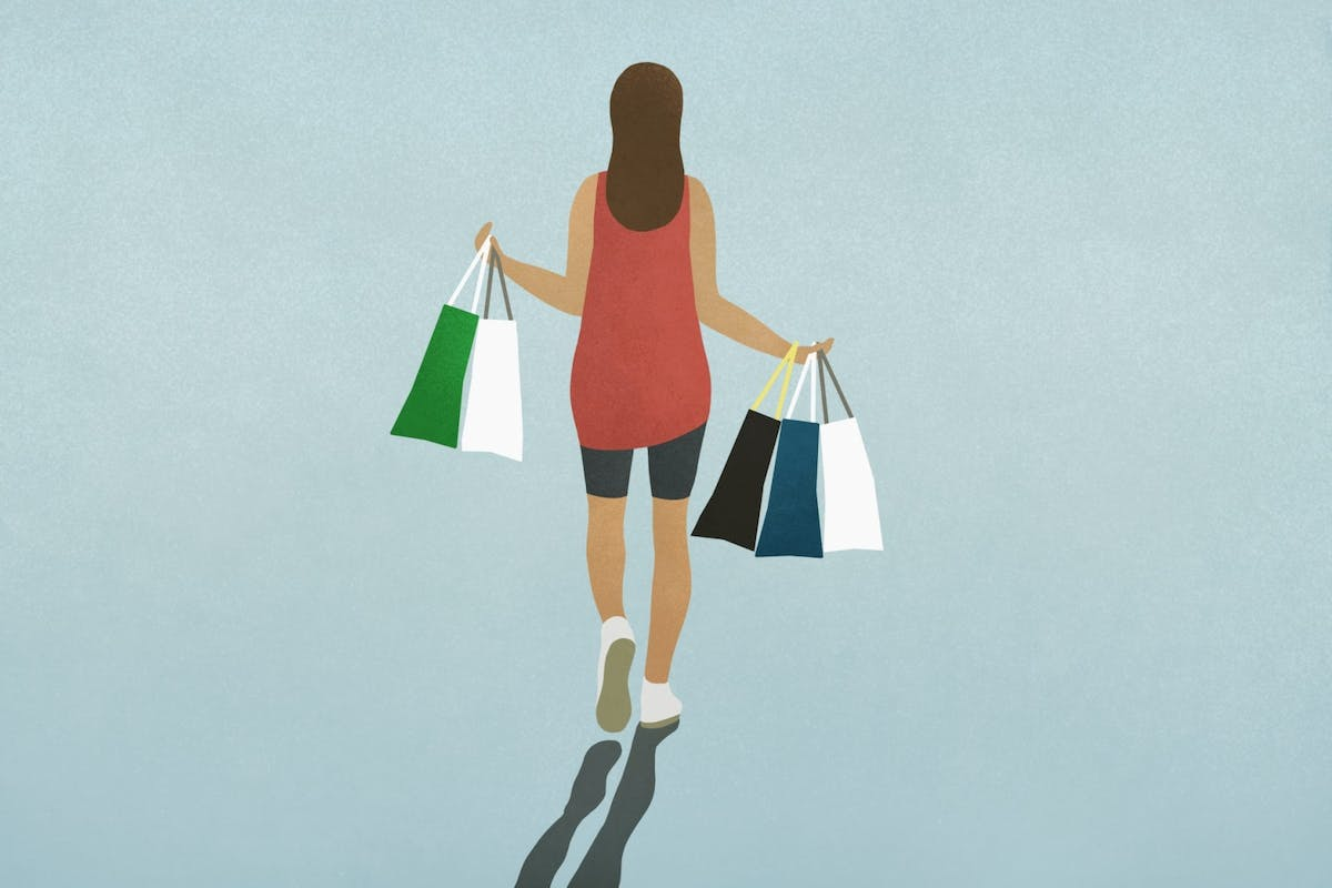 Illustration of woman shopping and buying clothes