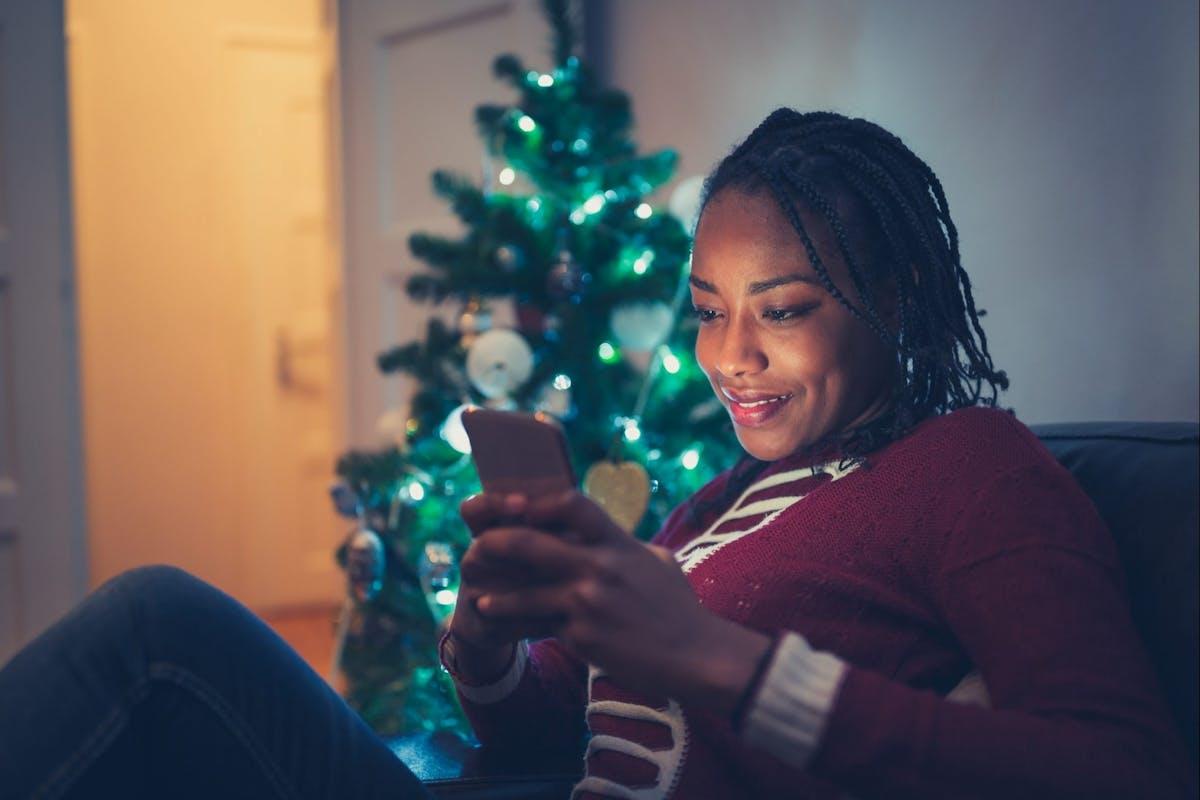 Woman on social media at Christmas