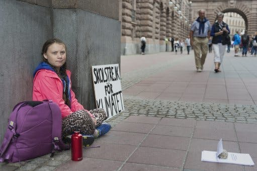 Greta Thunberg during her school stirke for the climate our´tside the Parliament building in Stockholm Sweden