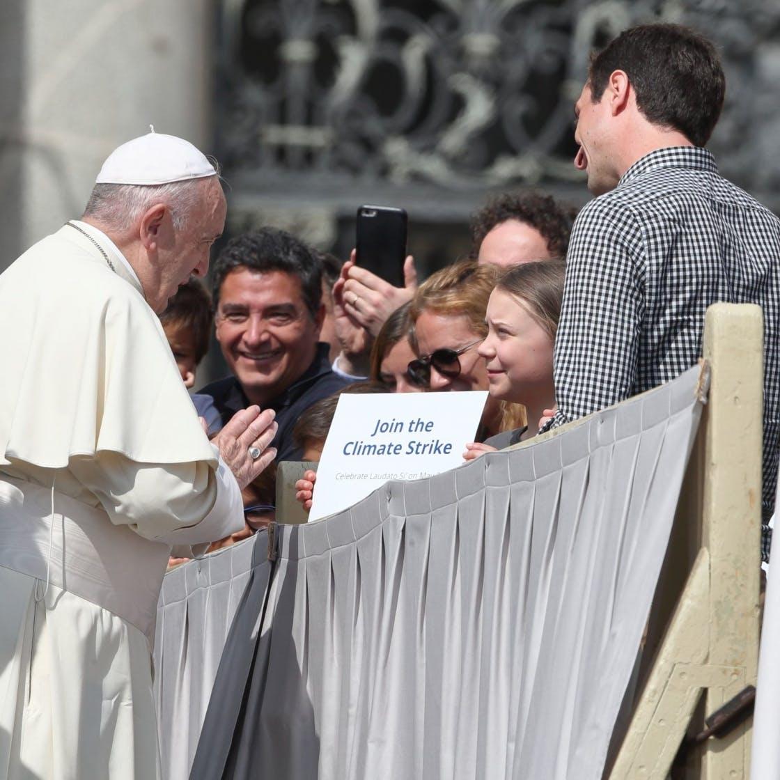Greta Thunberg meets the pope