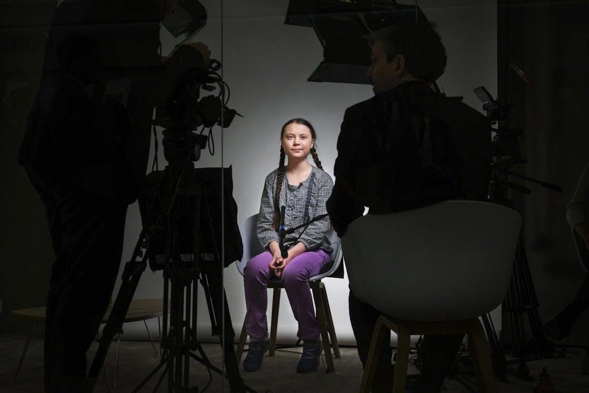 Greta Thunberg being interviewed