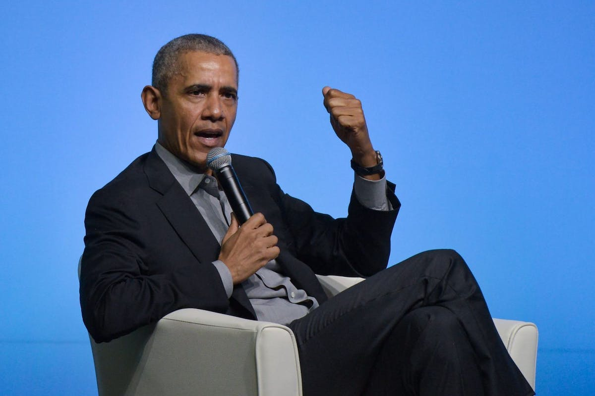 Barack Obama speaks at a conference in Singapore