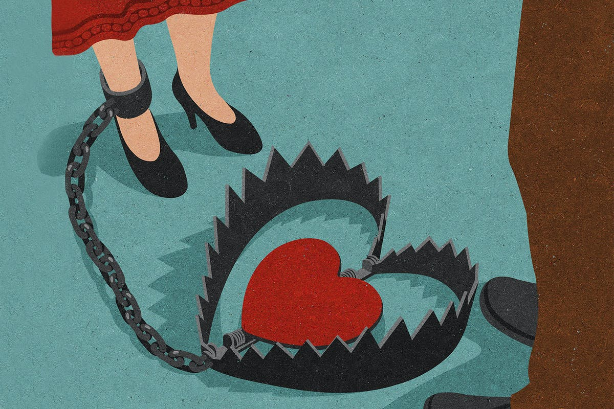 Illustration of woman's leg chained to heart inside a bear trap