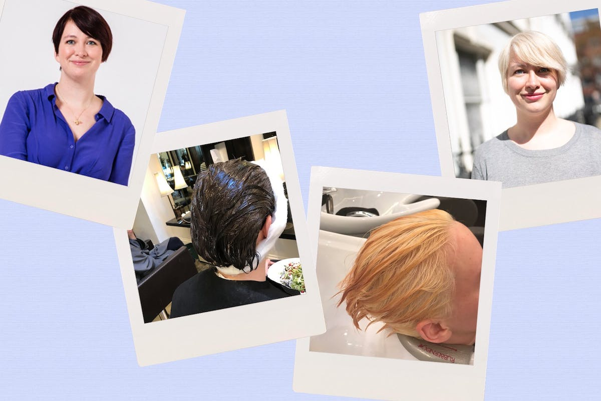 Kayleigh Dray: brown hair to blonde hair, stages of hair dye