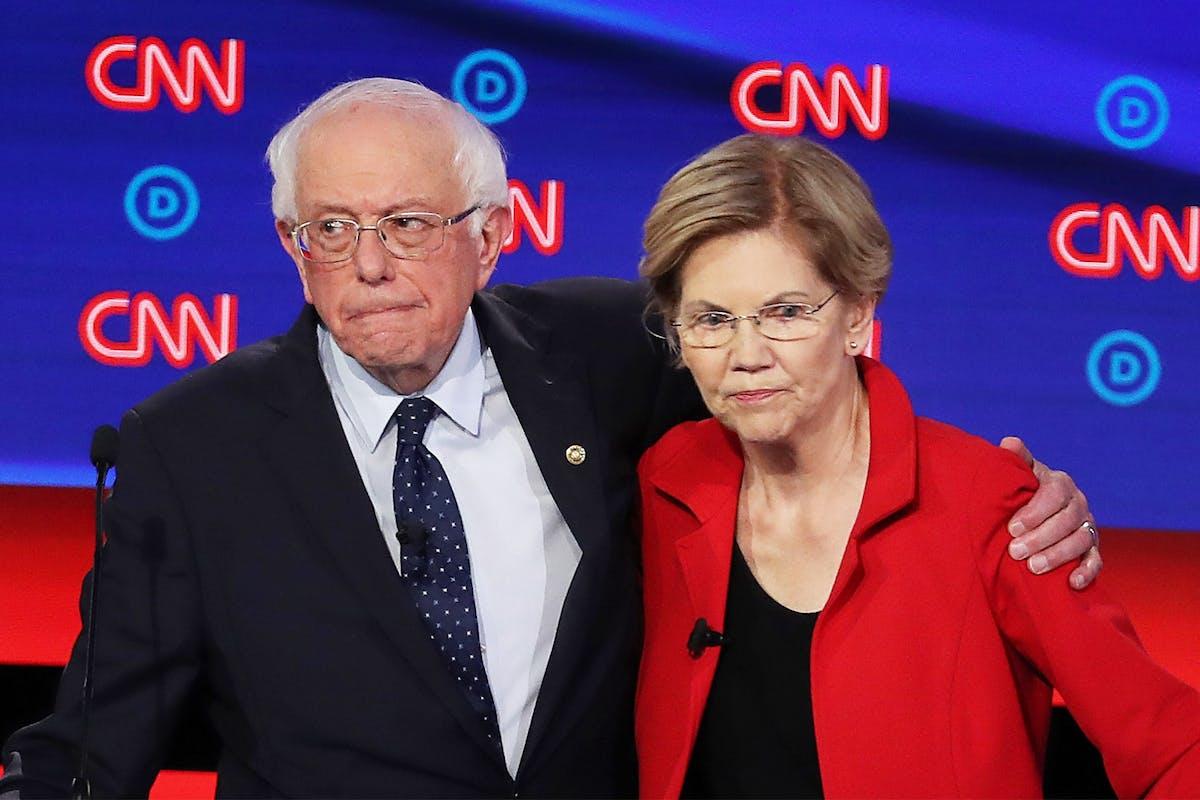 Elizabeth Warren with Bernie Sanders