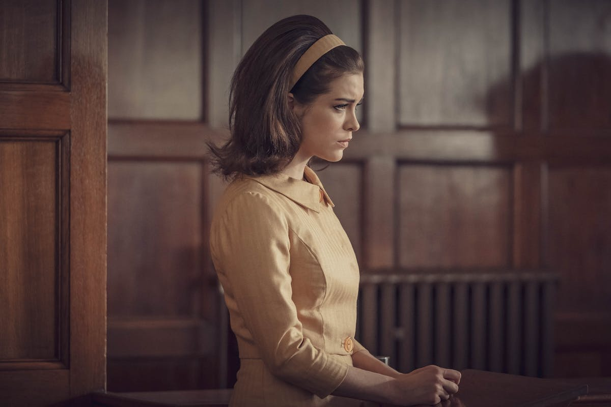 The Trial of Christine Keeler: Christine (Sophie Cookson) testifies in Stephen's trial.