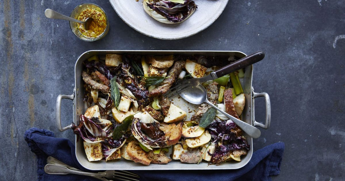 This sausage traybake recipe with apple and veg is the perfect easy weeknight dinner