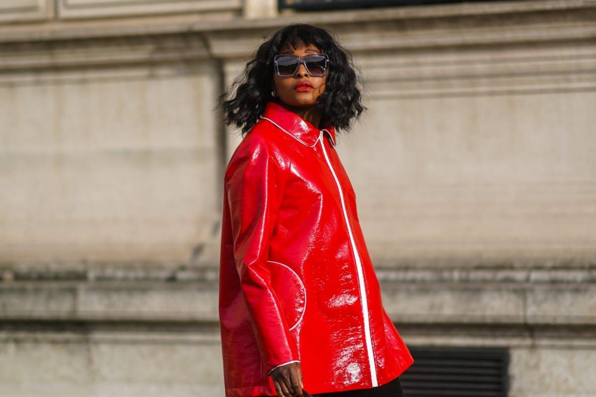 Street style wearing red coat