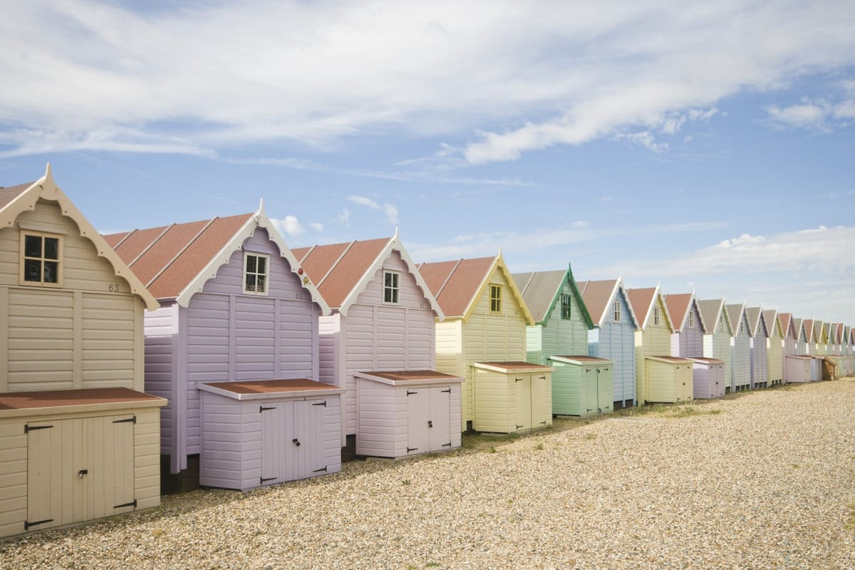 Beach huts on the English coastline