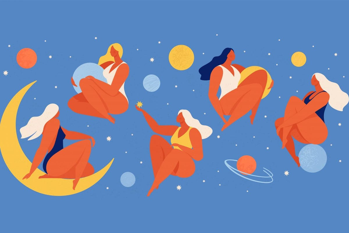 Set of people flying in space vector flat illustration. Collection of wom n holding planet with dream universe. Concept in flat graphic. Vector Illustration. - stock vector