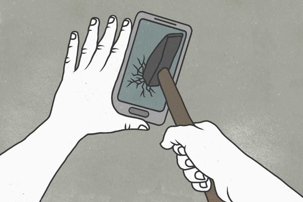 Troll smashes mobile phone with a hammer - illustration