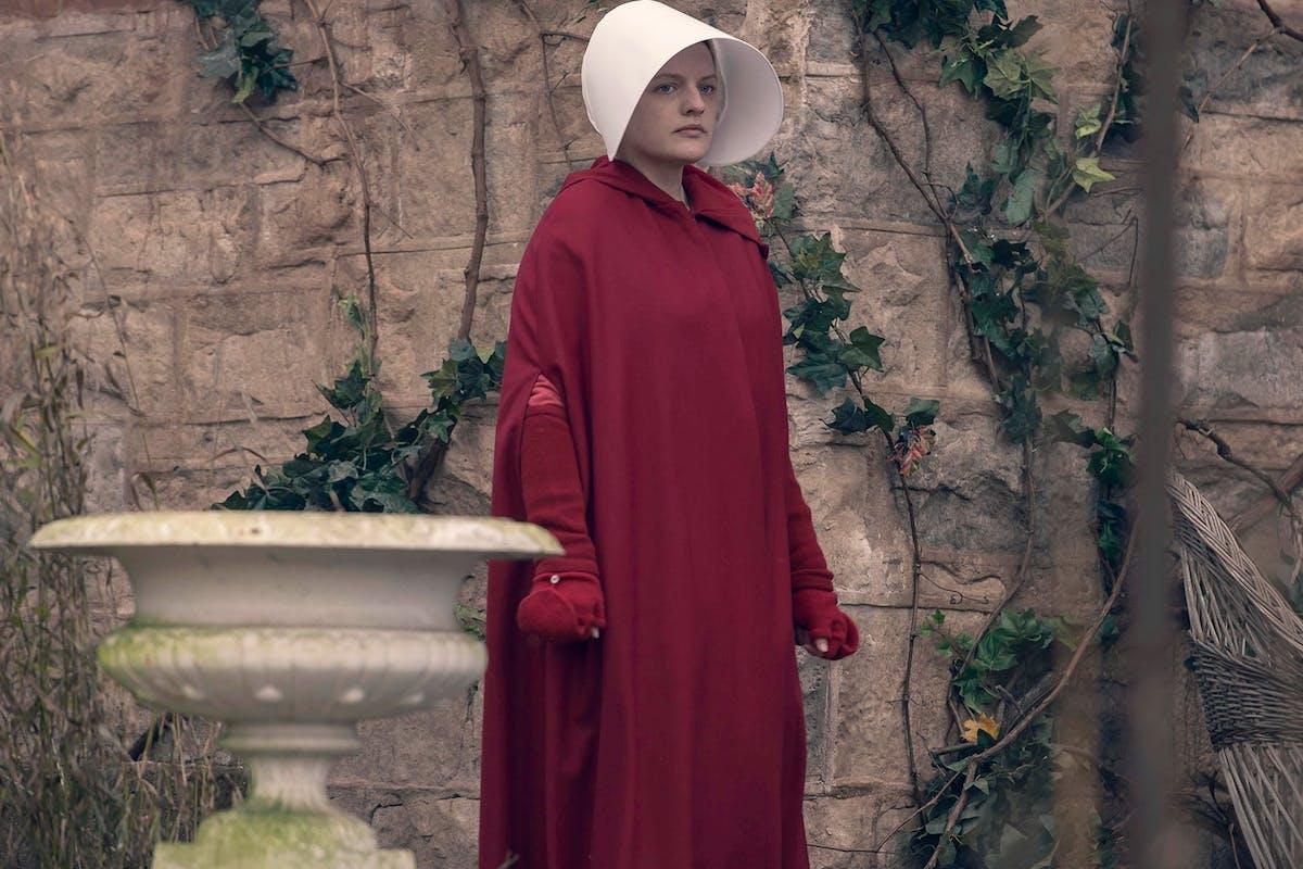 Elisabeth Moss as June in The Handmaid's Tale.
