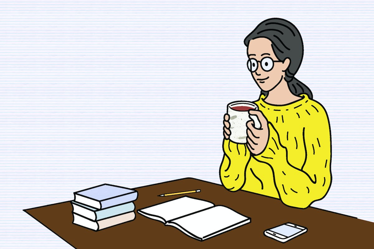 Illustration of woman at her desk