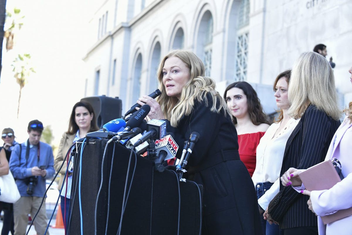 Caitlin Dulany (C) speaks at Silence Breakers Hold Press Conference In Los Angeles Following Guilty Verdict In Harvey Weinstein Trial at Los Angeles City Hall on February 25, 2020 in Los Angeles, California. (Photo by Rodin Eckenroth/Getty Images)
