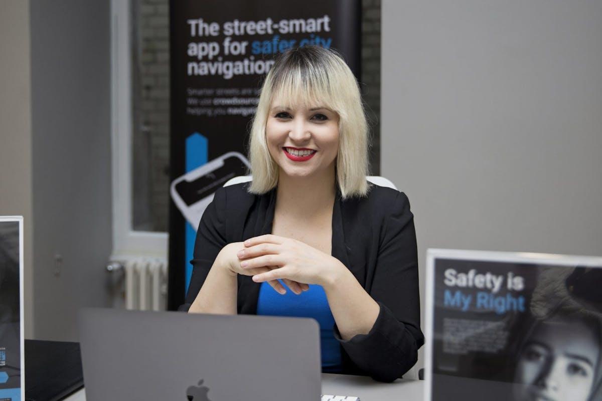 Jillian Kowalchuk, at work at Safe & The City app
