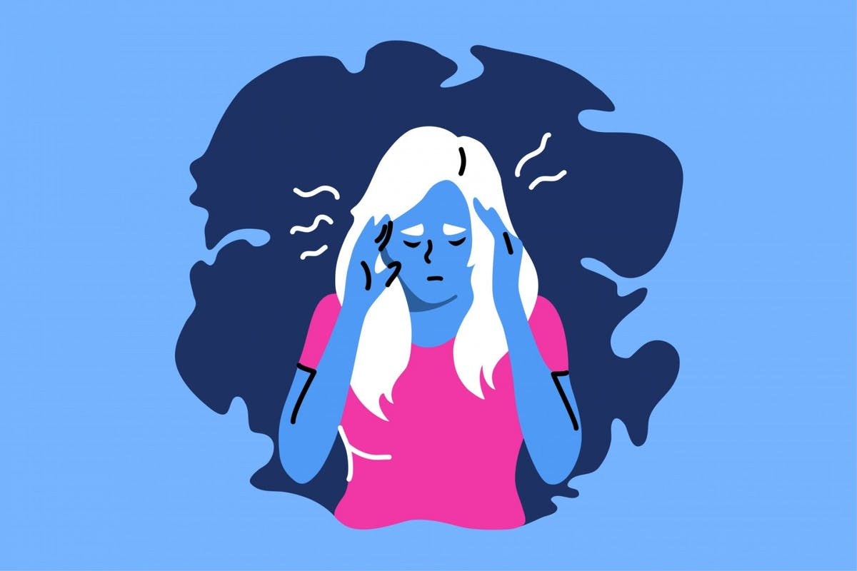 An illustration of a woman dealing with anxiety after reading a negative news story