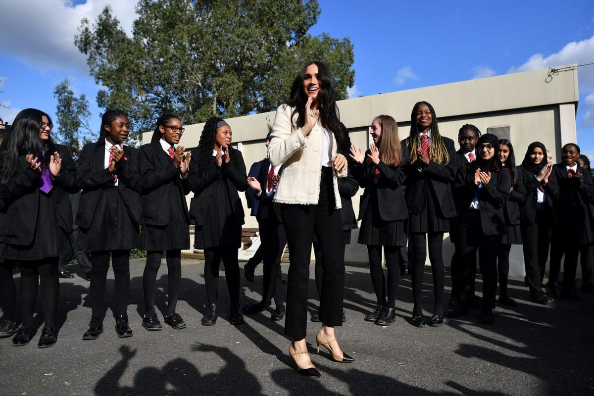 Meghan Markle during her visit to an East London School