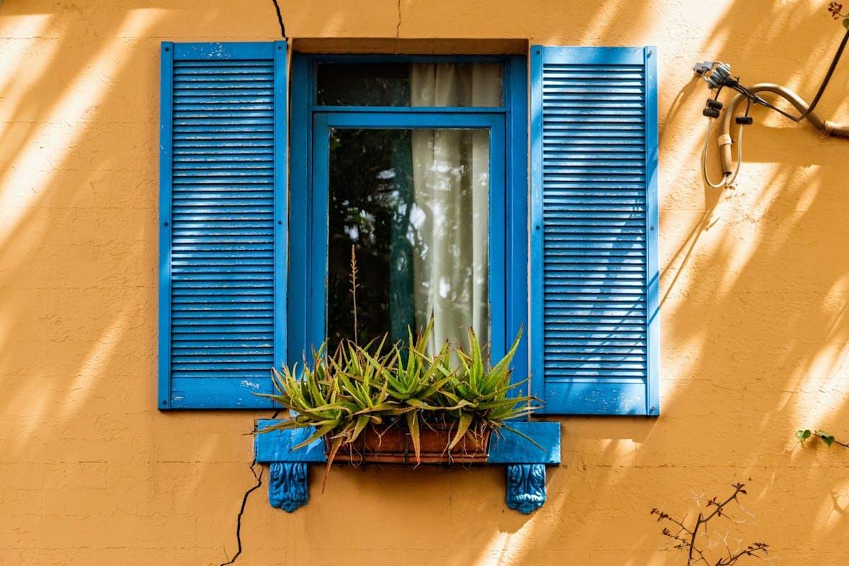 Beautiful painted window in mediterranean