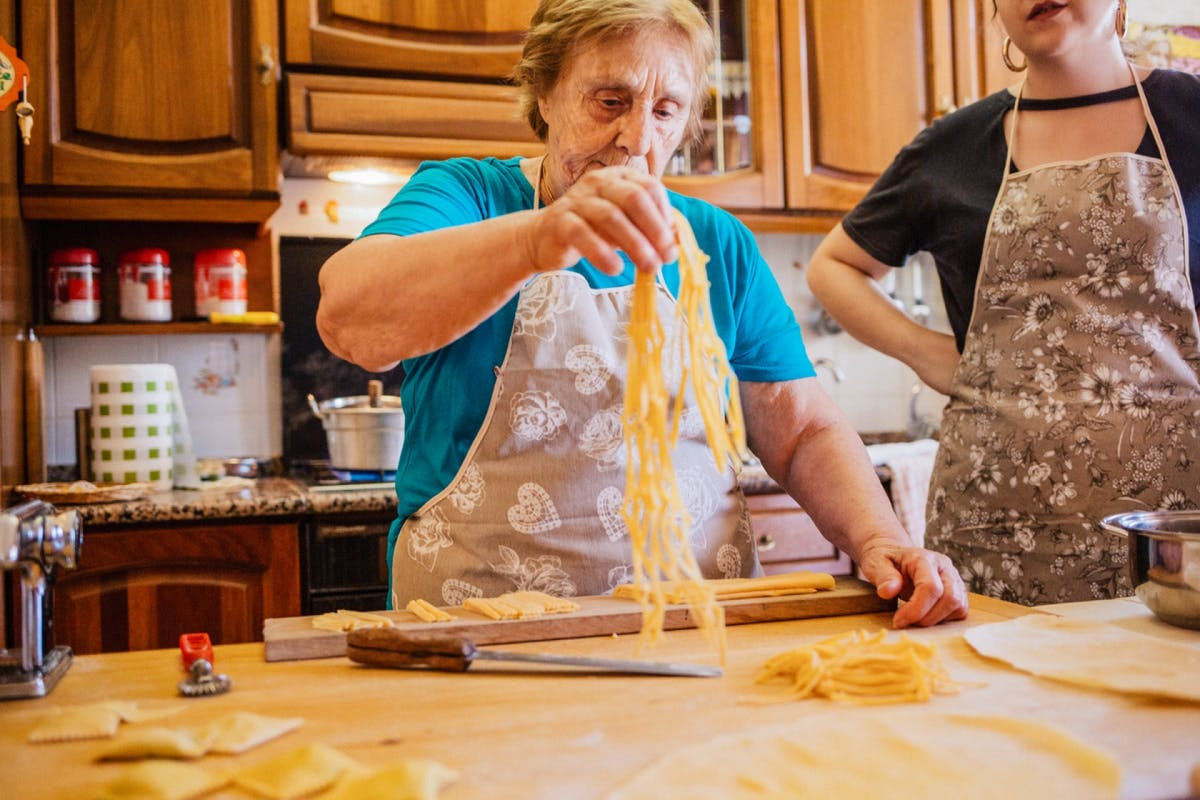 Cook pasta at home with Nonna Nerina.